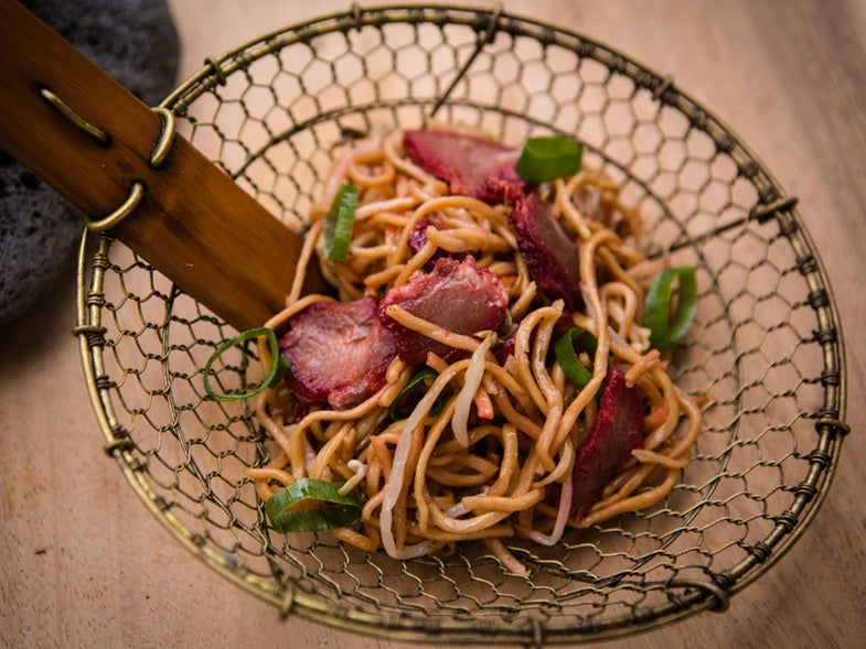 Sweet and Sticky Roasted Pork with Sesame Noodles