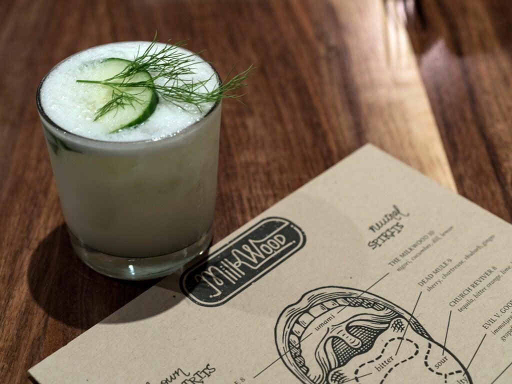 The MilkWood's umami-centric titular cocktail with nigori, cucumber, dill and lemon
