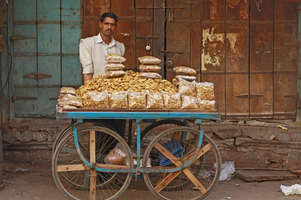 A snack vendor near Manek Chowk in Ahmedabad, Gujarat