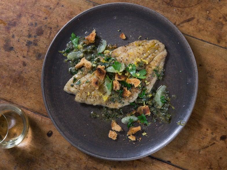Flounder with Lemon Caper Sauce