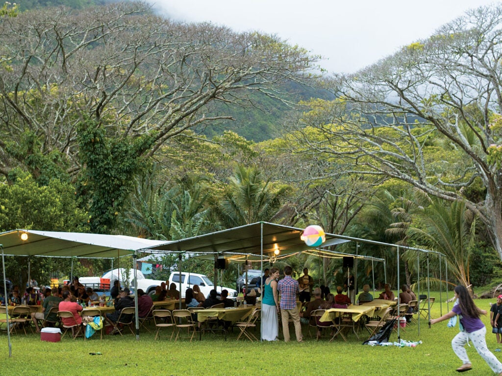 A Hawaiian dinner gathering