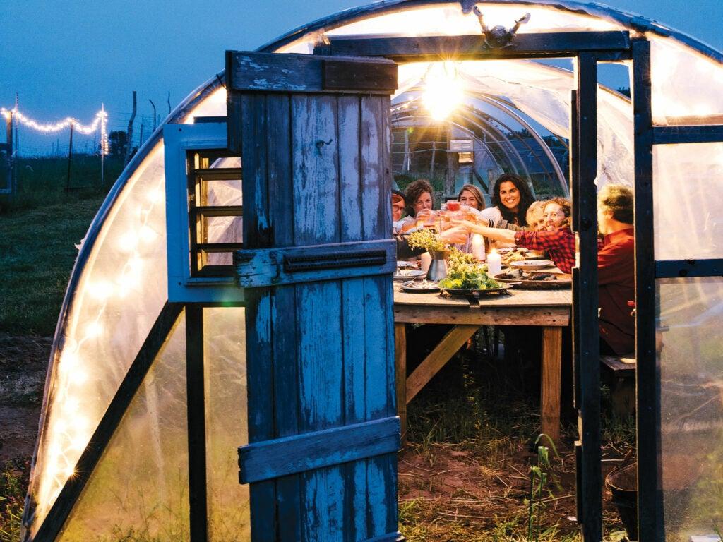 Martha's Vineyard, Chris Fischer, Entertaining, Greenhouse dinner