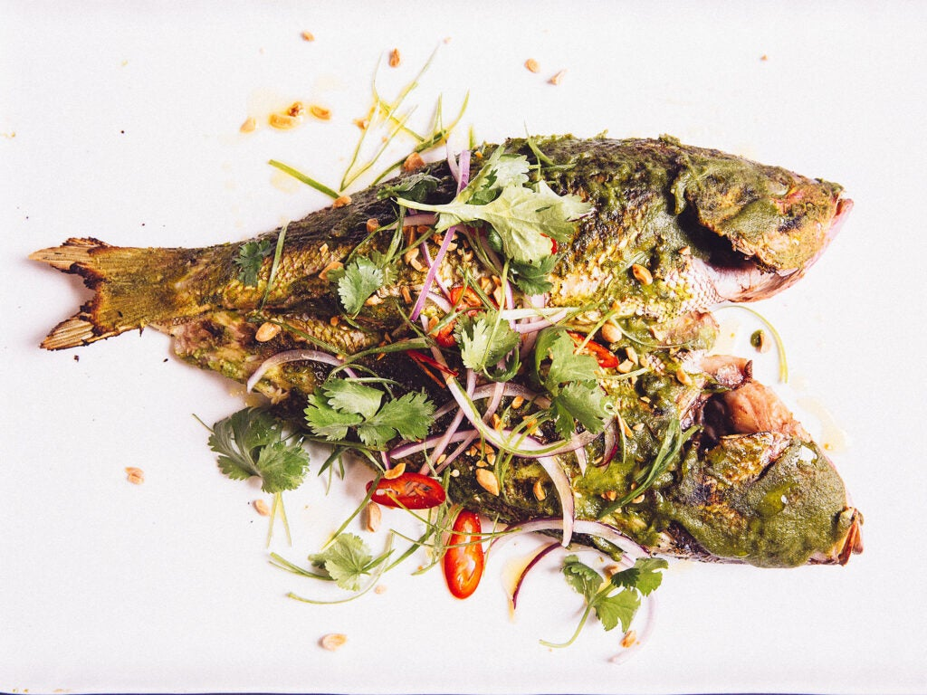 Whole Grilled Fish with Peanut Pesto