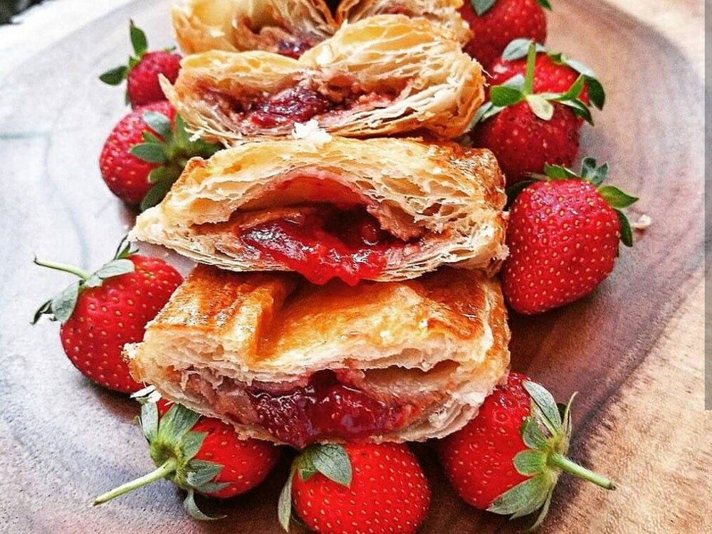 Peanut butter and jelly pastelitos with Knaus Berry Farm strawberries