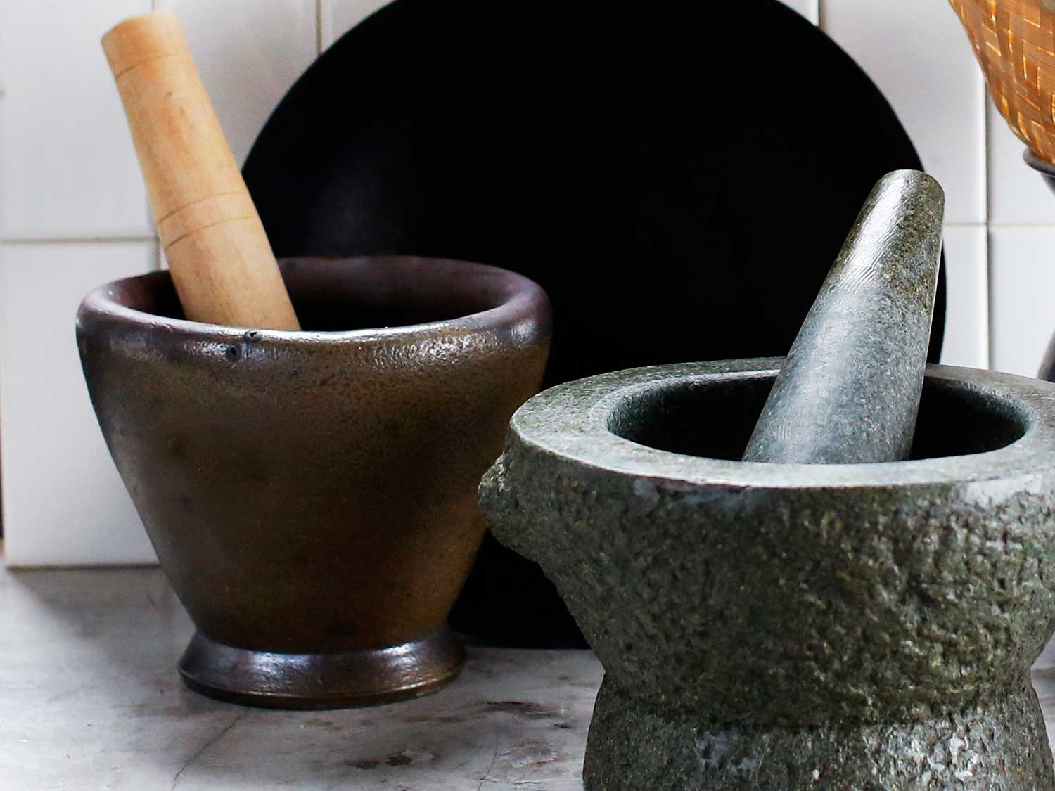 Wood & Clay Mortar and Pestle