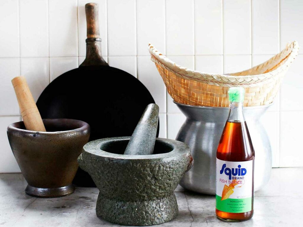tools and ingredients for cooking Northern Thai food