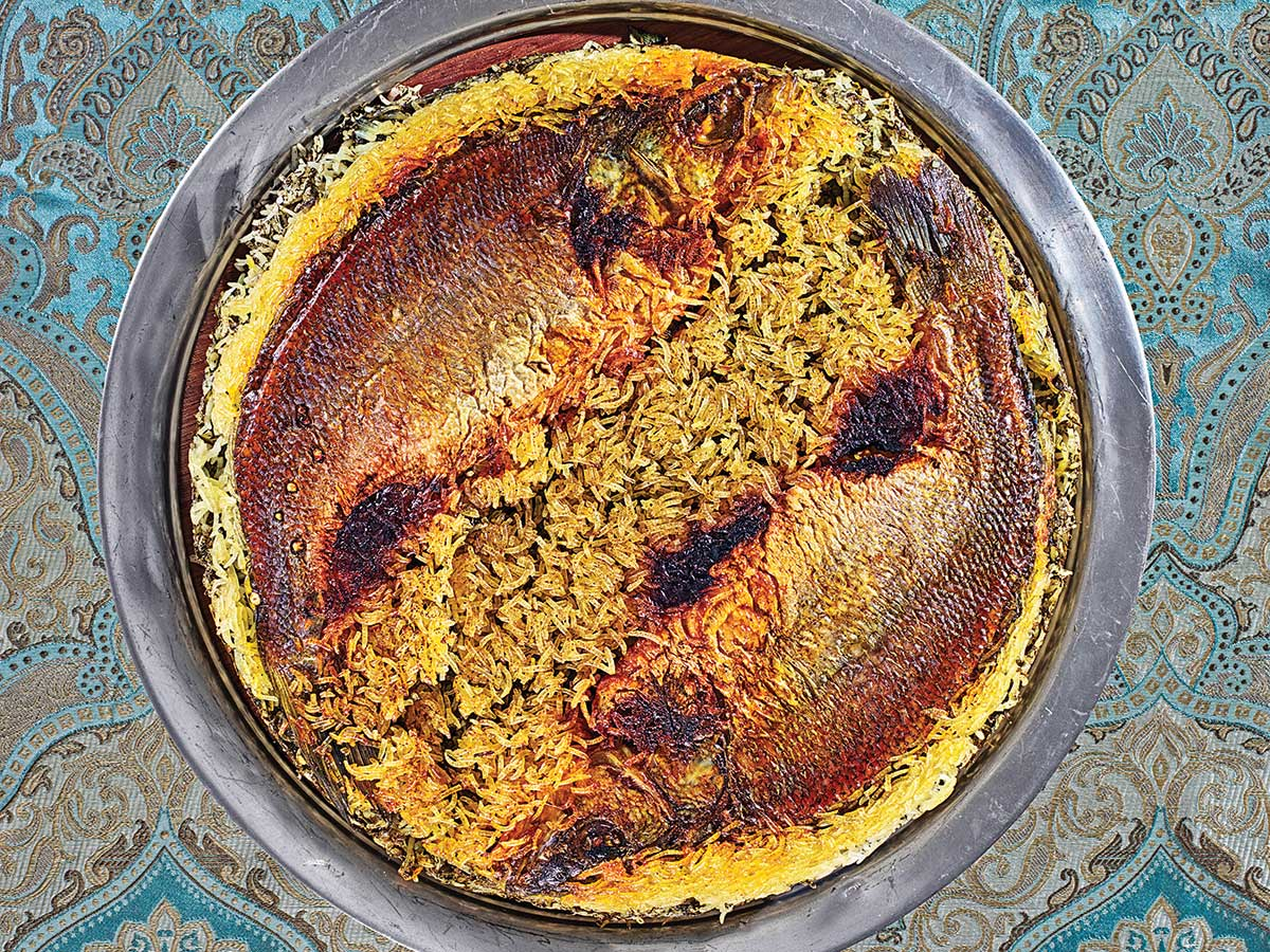Herbed Rice with Fish Tahdig (Sabzi Polo ba Tahdig-e Mahi)