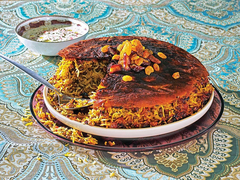Persian Lentil Rice with Lavash Tahdig (Adas Polo)