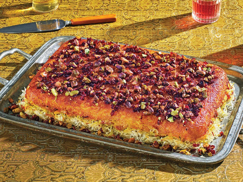Baked Saffron Yogurt Rice with Chicken (Tahcheen-e Morgh)