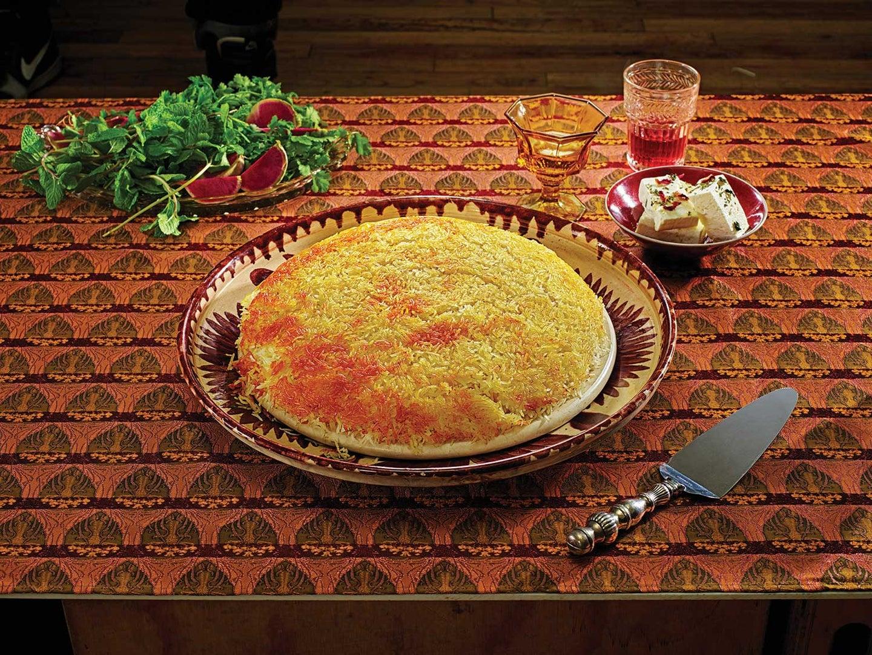 Steamed Saffron Rice with Tahdig (Chelo ba Tahdig)