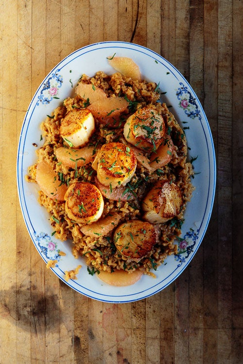 Risotto with Grapefruit and Seared Scallops
