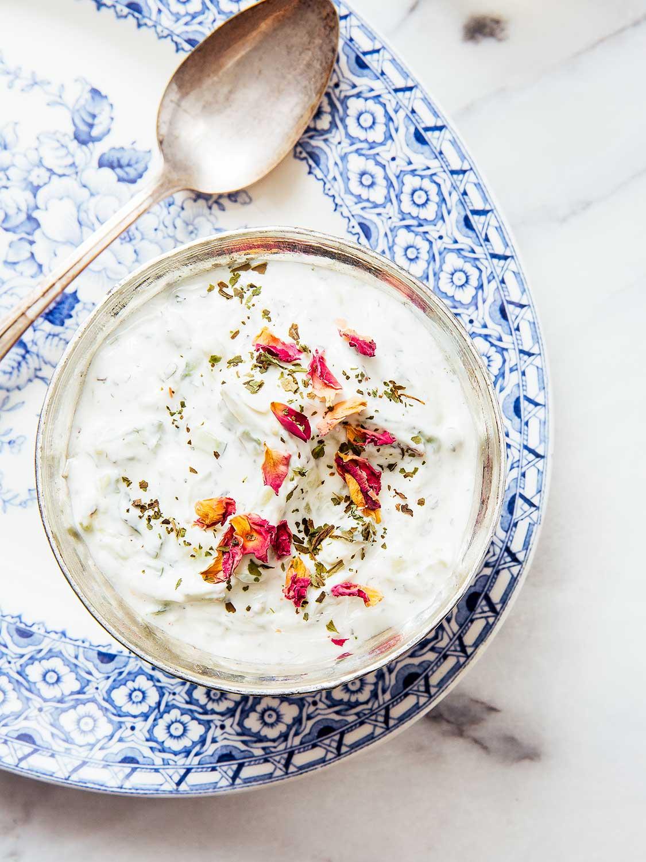 Yogurt Cucumber Sauce with Rose Petals (*Maast-o Khiar*)