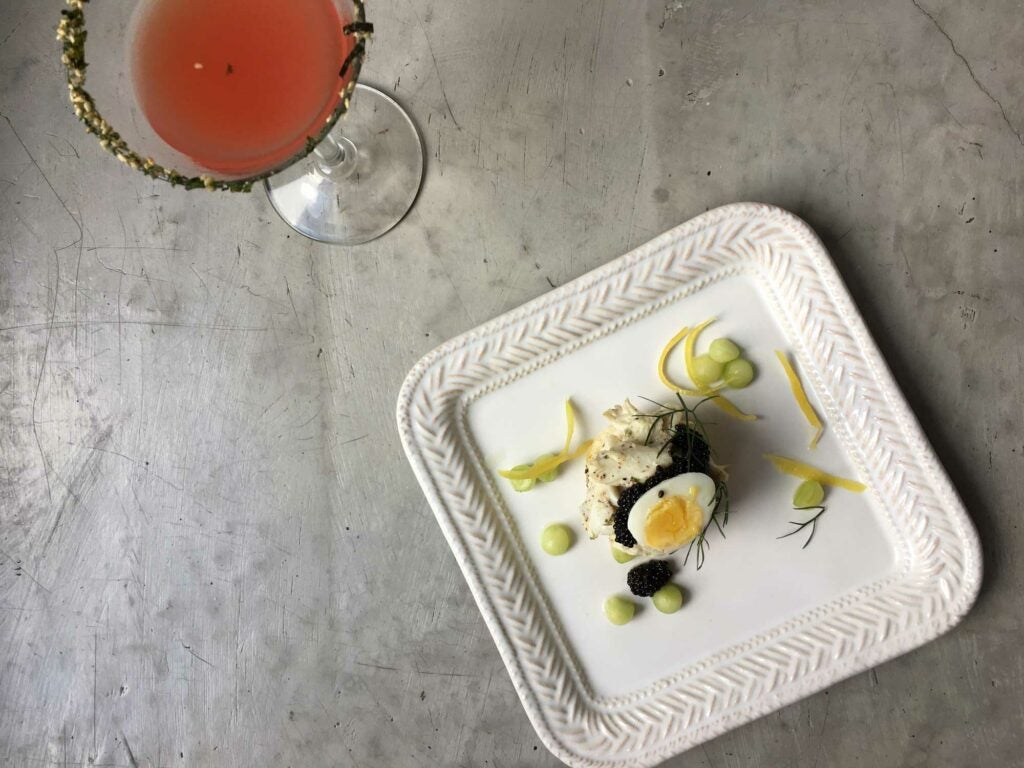 Tiny fishy sandwiches and watermelon martinis make a perfect pair.