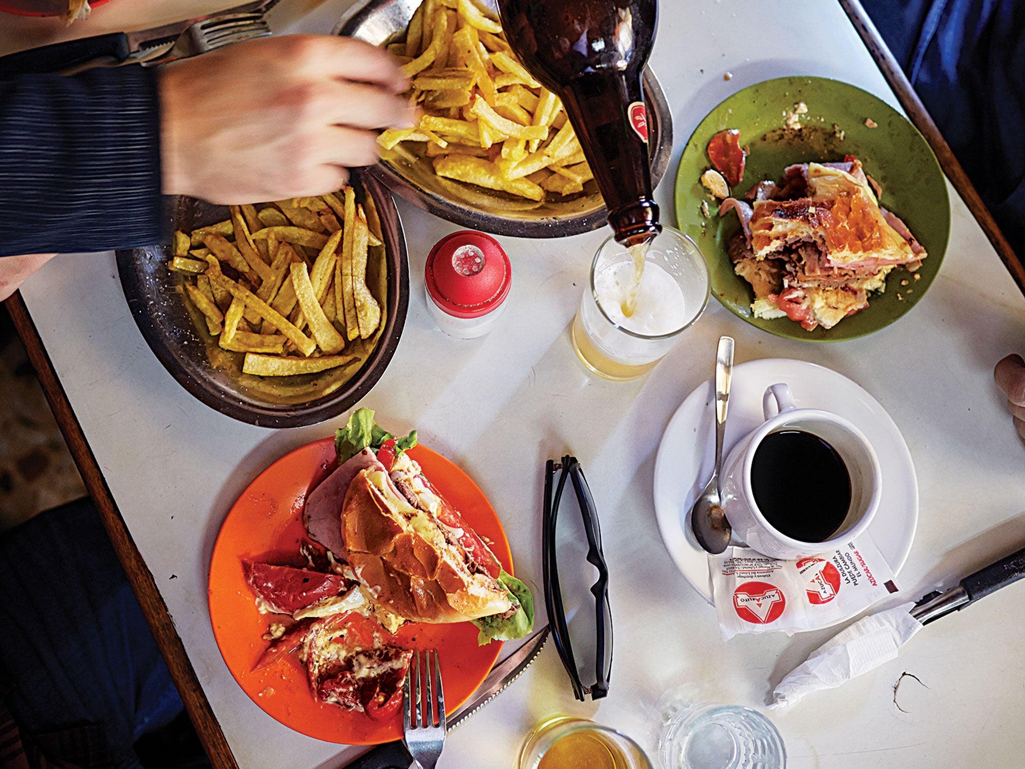 Uruguay Chivita Bar Arocena fries beer lunch