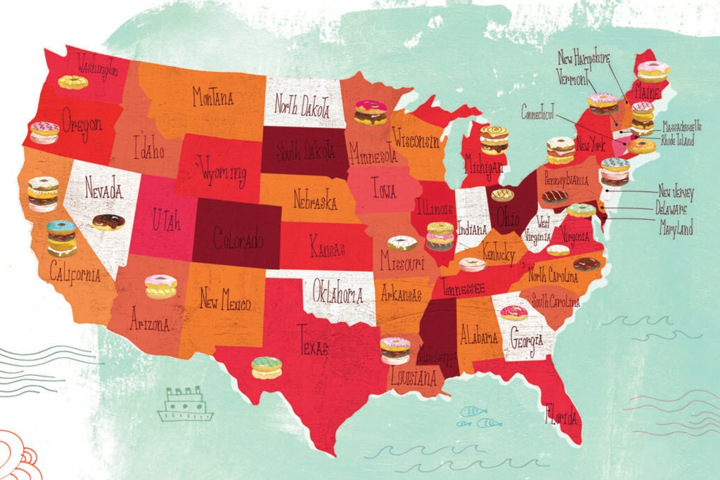America's 50 Best Donuts map