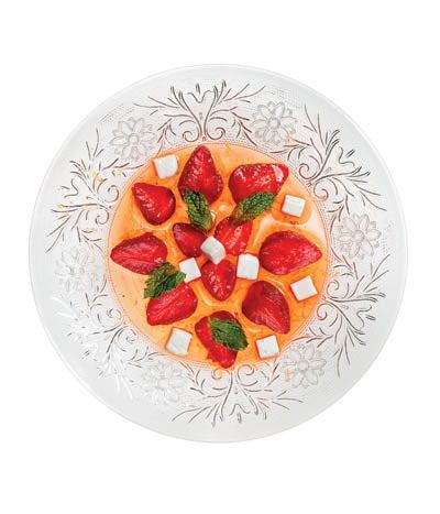 Coconut Gelatin with Glazed Strawberries
