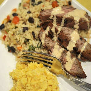 Chipotle Skirt Steak with Tex-Mex Rice and Corn Spoon Bread Pudding