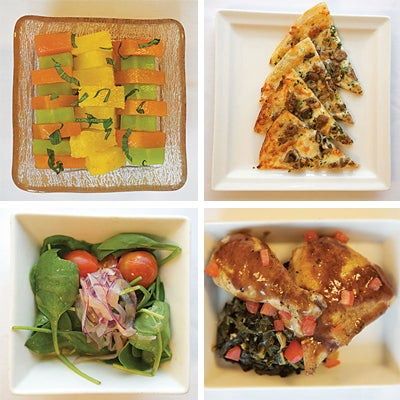 Compressed melon and pineapple with orange-infused honey; sausage and olive pizza; chicken masala with braised kale; spinach salad