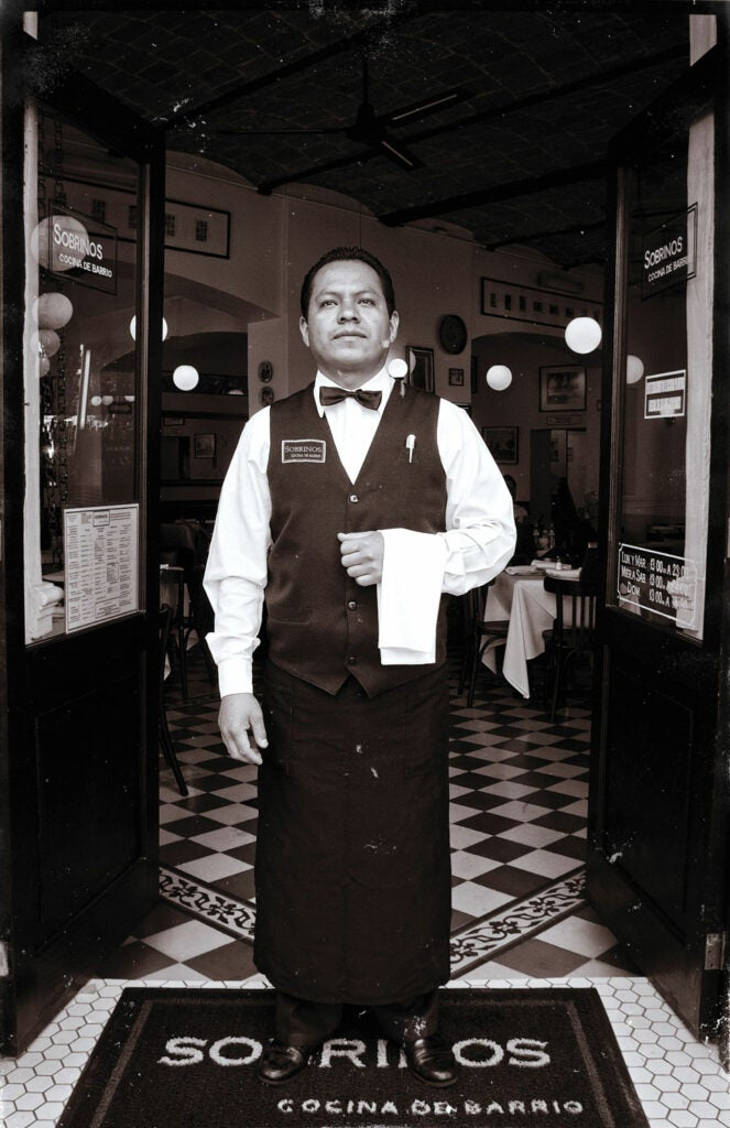 A waiter at Sobrinos, a restaurant in Mexico City.