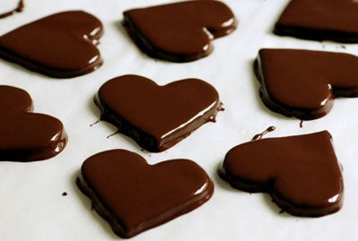 heart shaped chocolate covered cookies