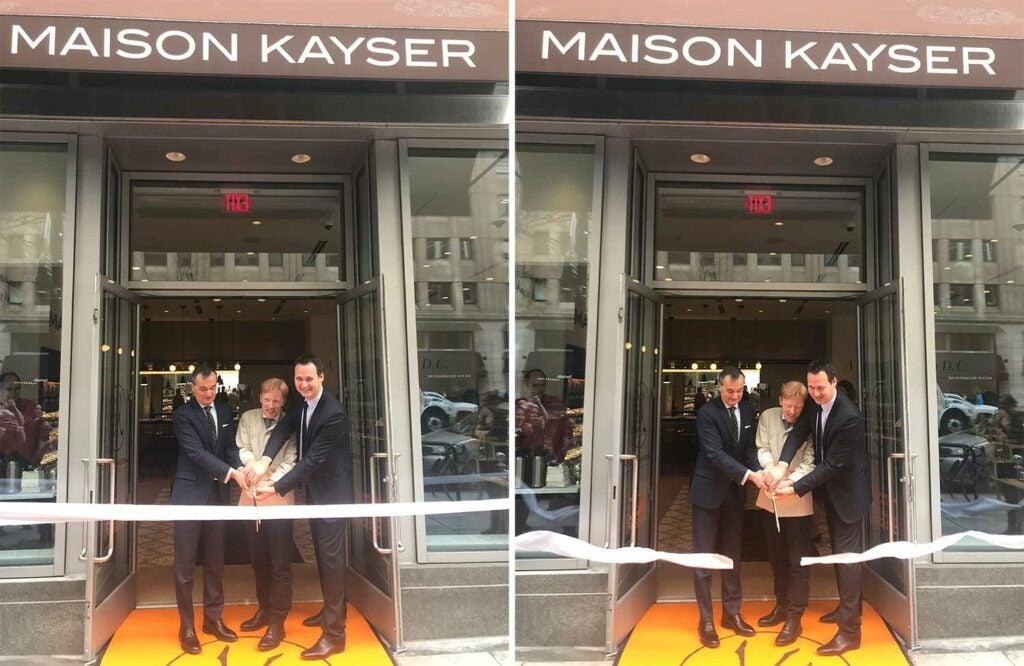 Louis-Jean Egasse, Eric Kayser, and Ambassador Gérard Araud cut the ribbon at the first Maison Kayser in D.C.