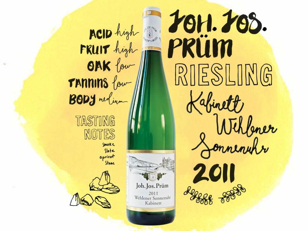 Joh. Jos Prüm Riesling Kabinett Wehlener Sonnenuhr 2011 wine illustrations, handlettering and typography