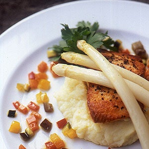 Salmon with White Asparagus Mashed Potatoes