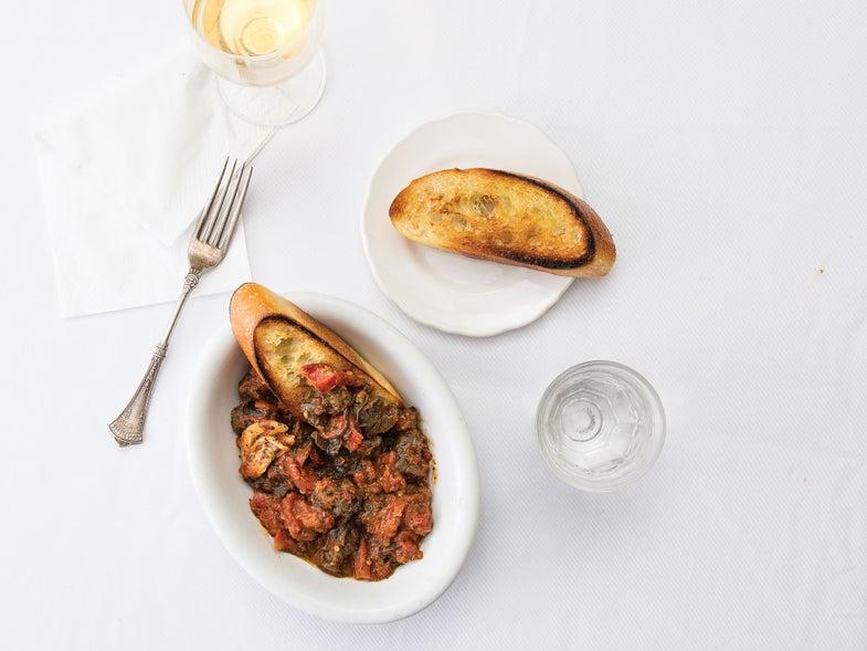 Spicy Tomato-Braised Snails with Mint (Lumache alla Romana)