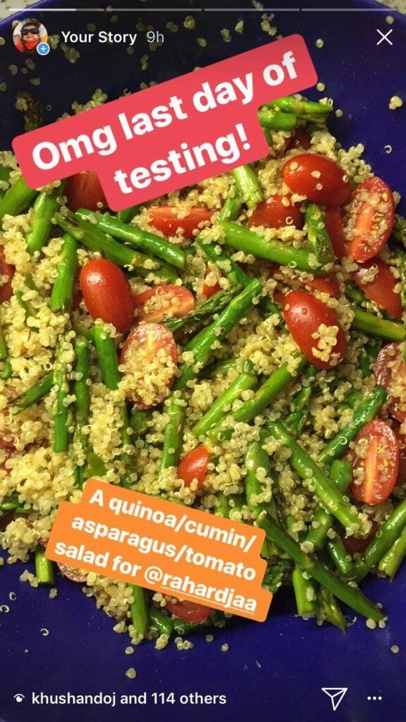 quinoa, cumin, asparagus, tomato
