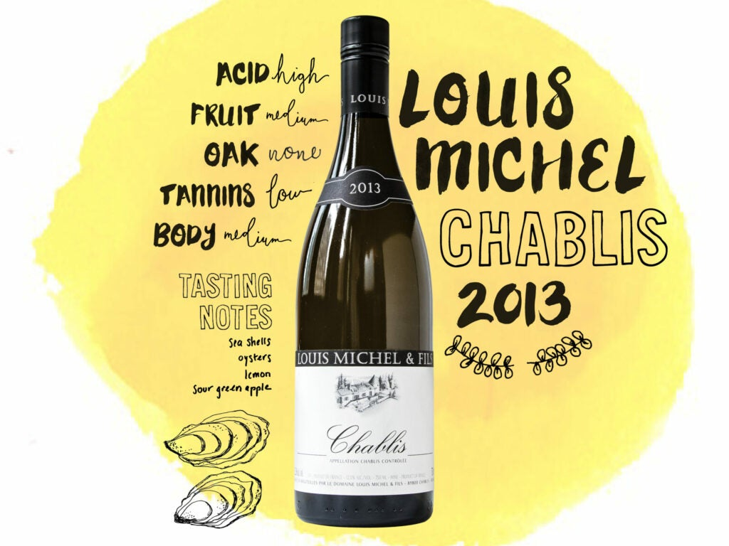 Louis Michel Chablis 2013 illustrations, typography and handletting for wine column