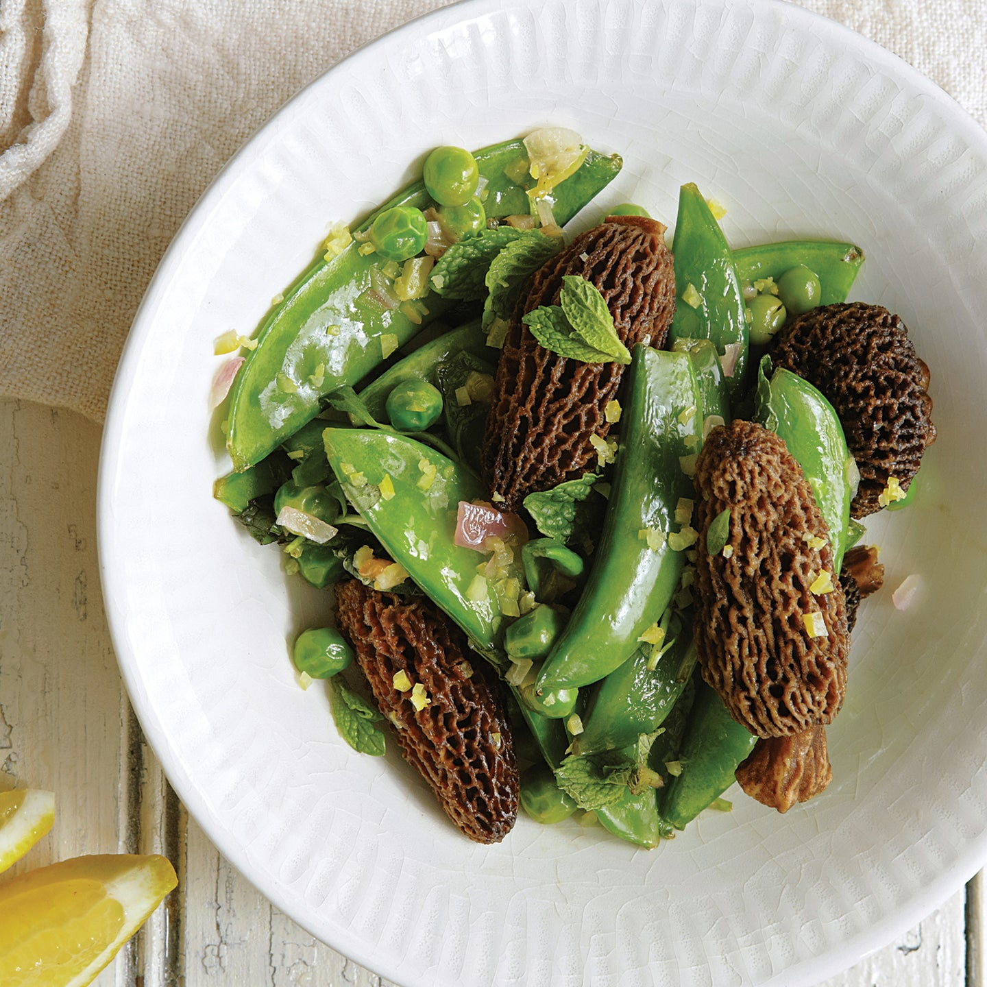 Morels with Mint, Peas, and Shallot
