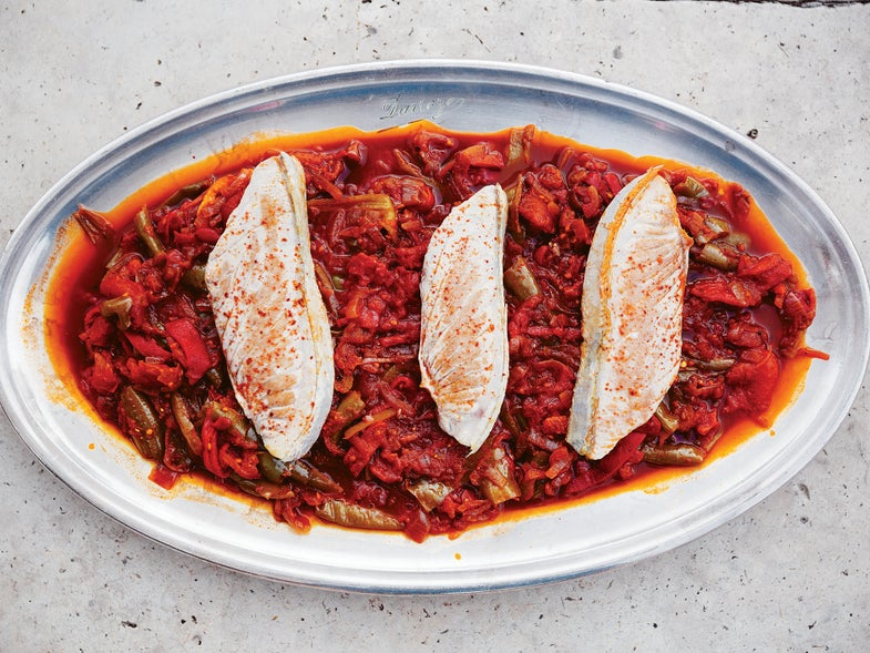 Basque Pipérade with Seared Tuna Steaks