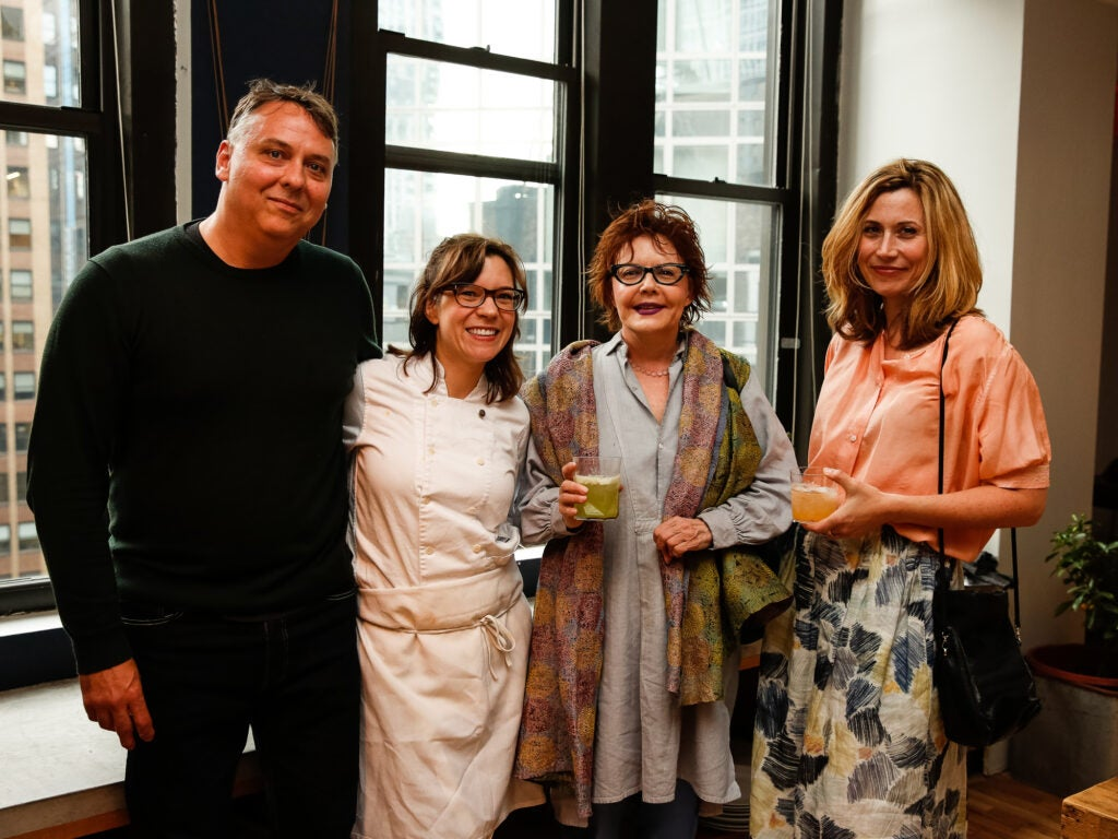 Chef Amy Thielen with her husband Aaron Spangler, Thielen's agent Janis Donnaud, and writer Raquel Pelzel