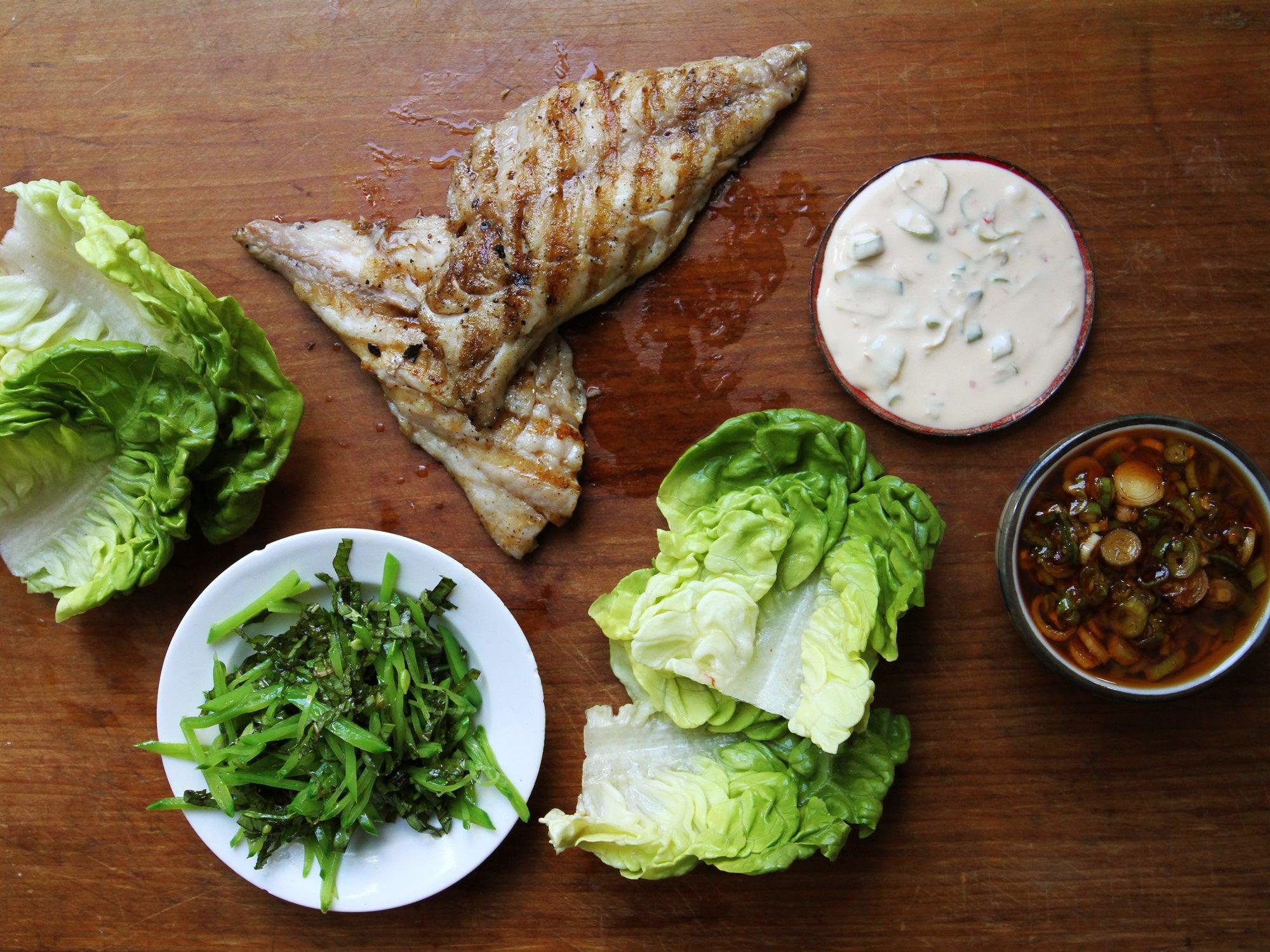 Fish Ssäm with Spicy Chile Sauce