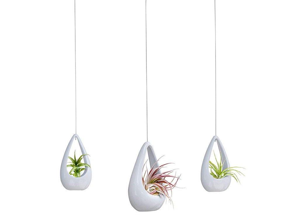 23 Bees, Hanging Air Plant Holder, White Hanger Ceramic Planter, Small Floating Succulent Pots Container, Cactus Holders with Metal Wire, 3 Pack
