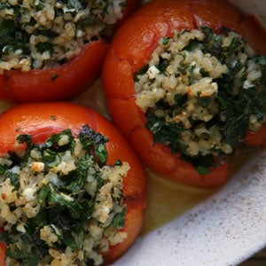 Tomatoes Stuffed with Brown Rice and Feta