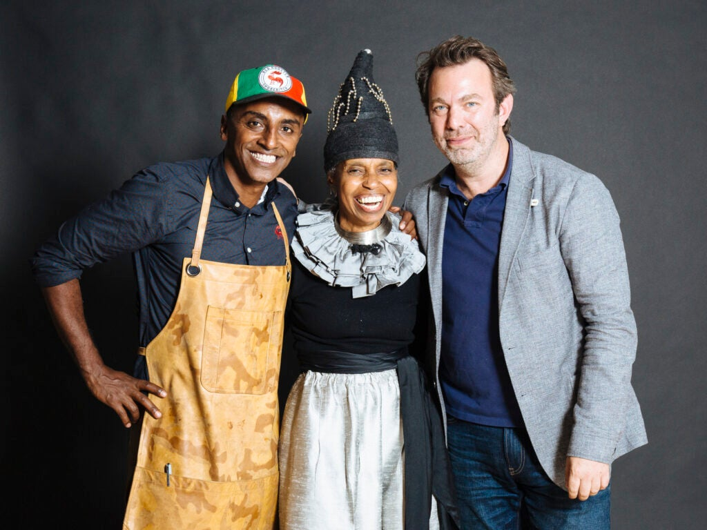 Saveur Editor in Chief Adam Sachs with Marcus Samuelsson and Lana Turner