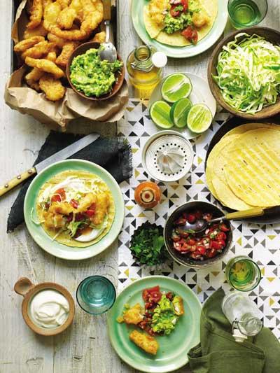 Fish Tacos with Pico de Gallo, Cabbage, and Lime Crema