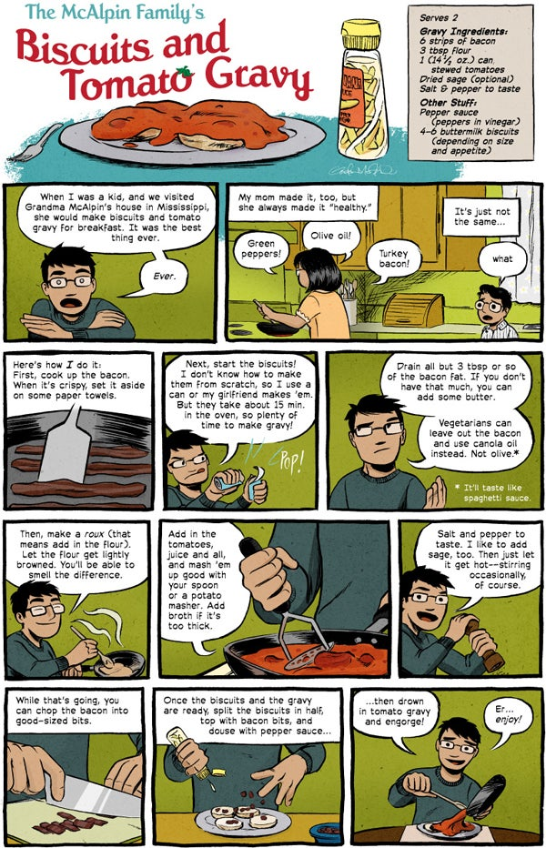 comic strip about biscuits and tomato gravy