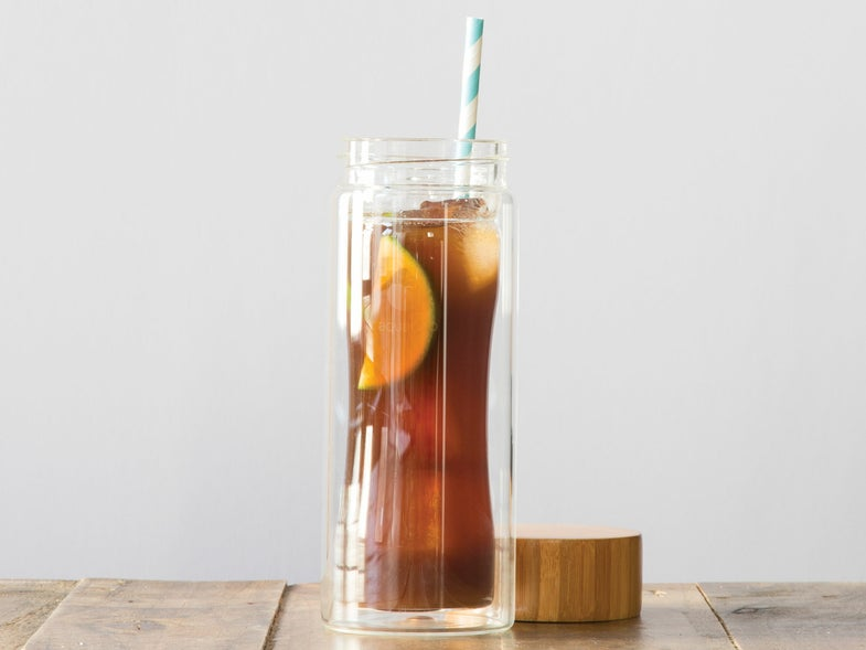 Gone in 60 seconds Iced Coffee with lime and peach nectar