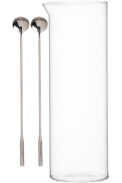 Beaker Glass Pitcher and Cocktail Spoon