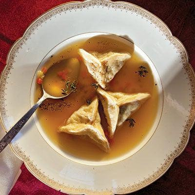 Kreplach Soup (Chicken Dumplings in Broth)