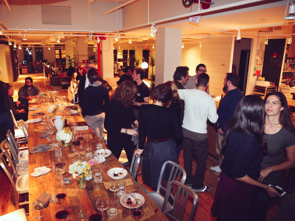Guests enjoy Saveur's newly renovated (and beautiful) office space