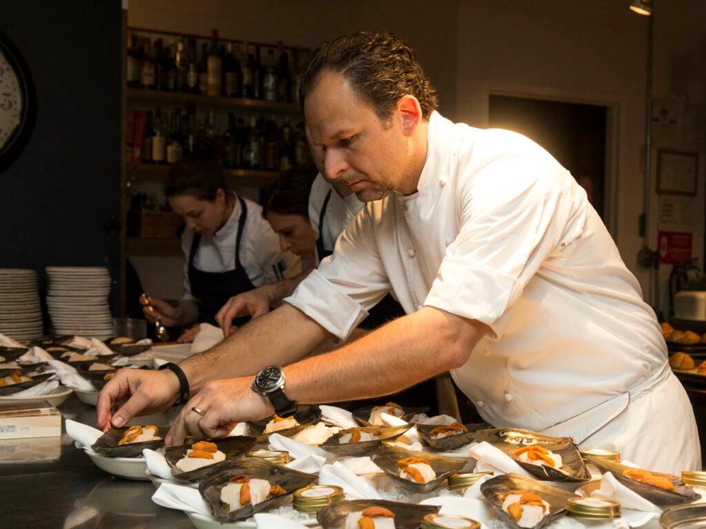 Chef Trabocchi plates his clams