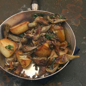Skirt Steak with Artichoke and Potato Hash