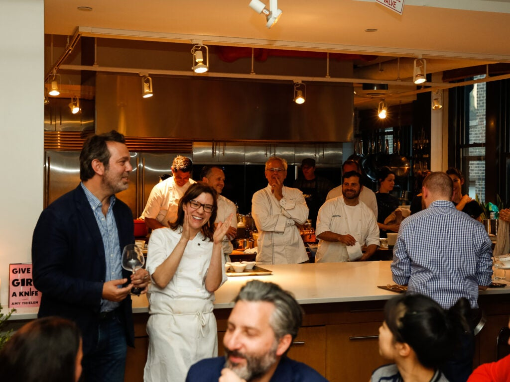 SAVEUR Editor in Chief Adam Sachs laughs with Amy Thielen