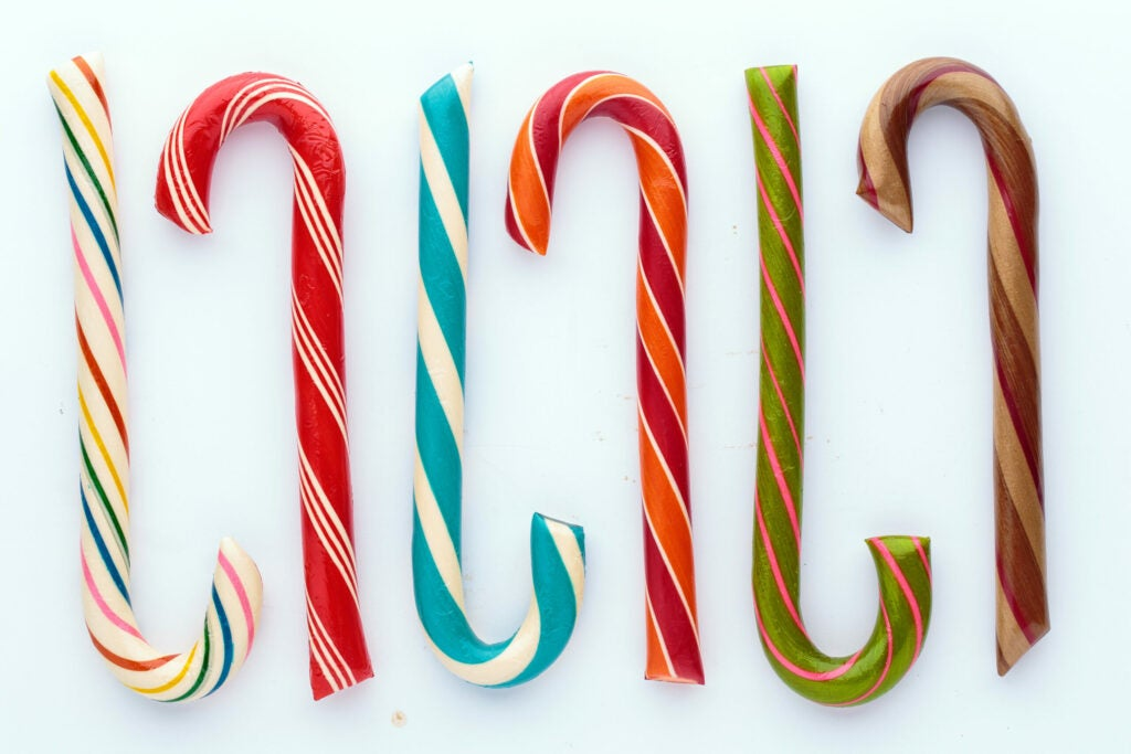 Chocolate filled candy cane