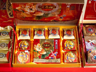 Mooncakes in a red box