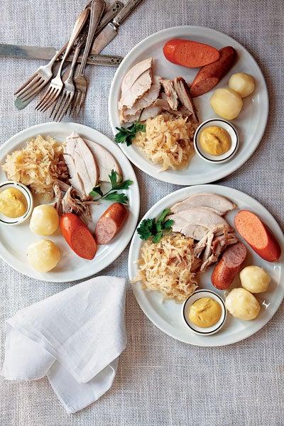 Turkey with Sauerkraut, Riesling, and Pork Sausages