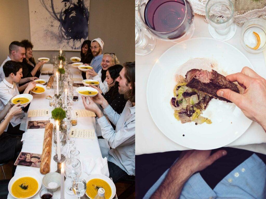 dinner, utensils, etiquette, art, performance, pasta